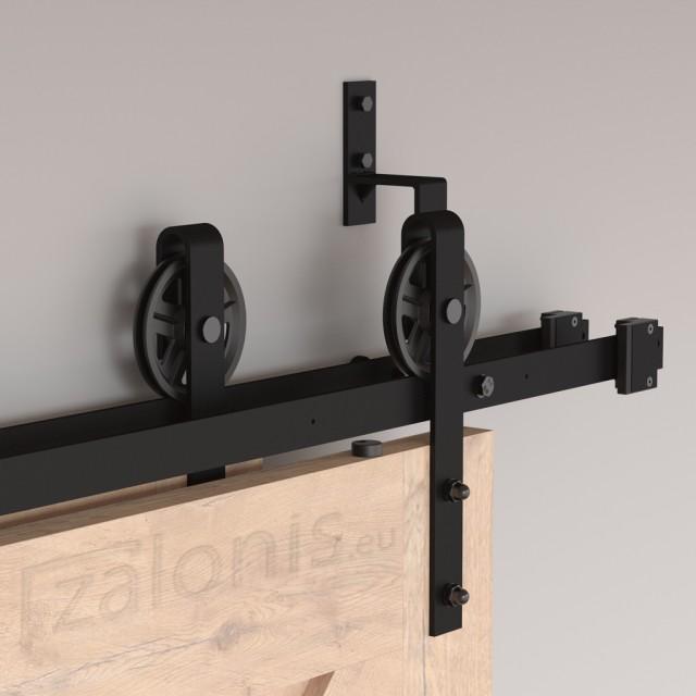 DOUBLE BYPASS BARN DOOR HARDWARE KIT 200cm/300cm BLACK D.120